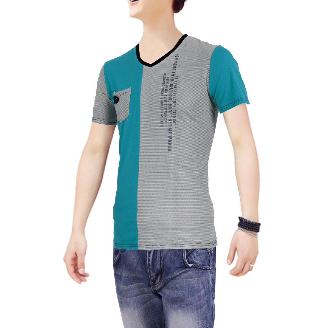 Men V Neck Pullover Short Sleeve Panel Shirt Turquoise White M