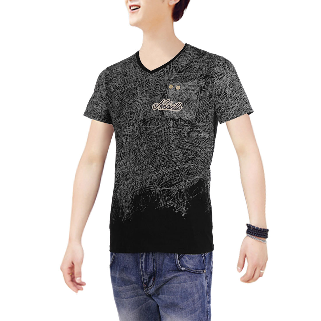 V Neck Graffiti Style Casual Letters Prints T-Shirt for Men Black S