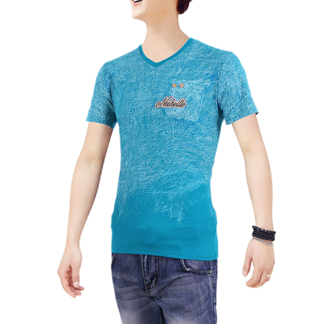Men Short Sleeves V Neck Round Hem Summer Graphic T-Shirt Blue S