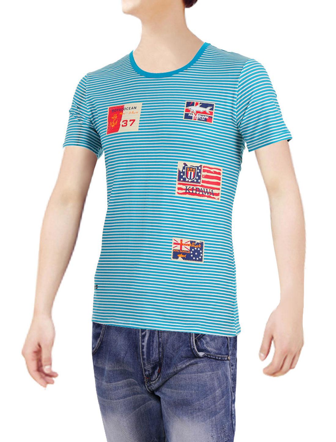 Men Pullover Short Sleeve Letter Prints Shirt Turquoise White M