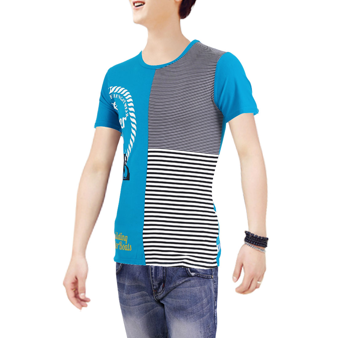 Peacock Blue M Letters Prints Round Neck Colorful Pullover Men T-Shirt