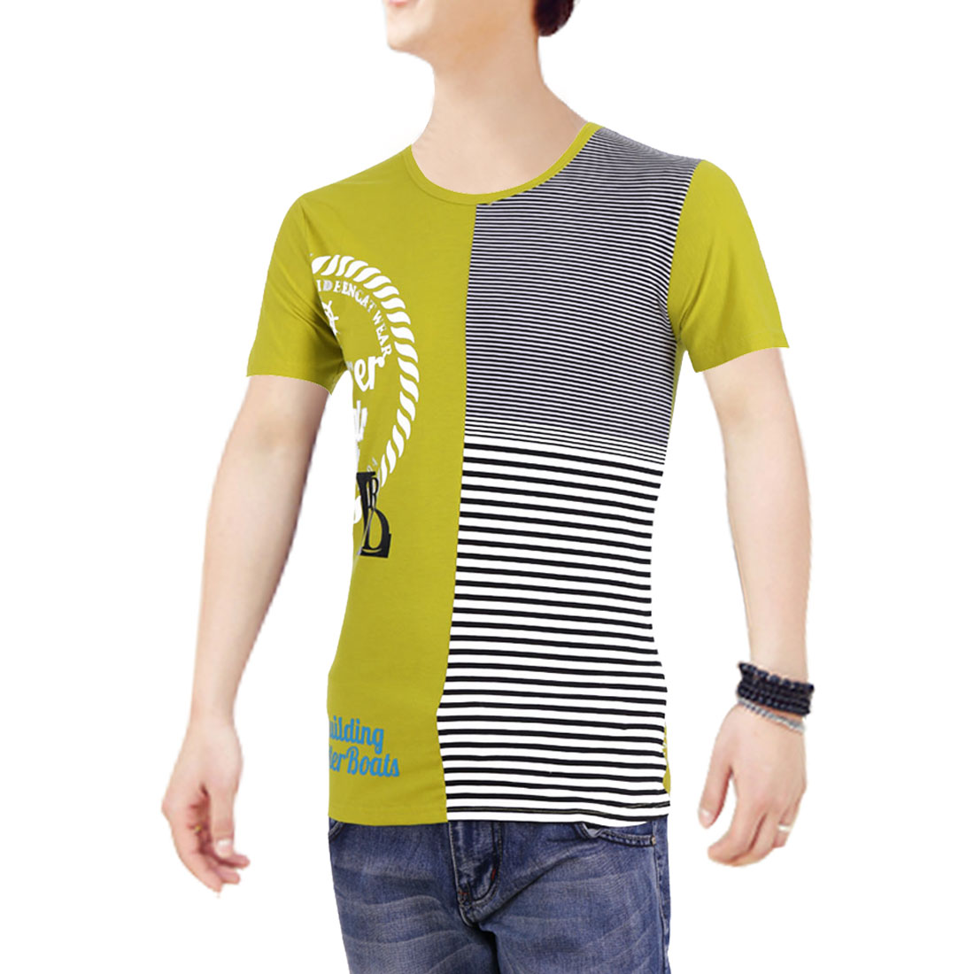 Curry M Round Neck Short Sleeves Stripes Prints Men Summer T-Shirt