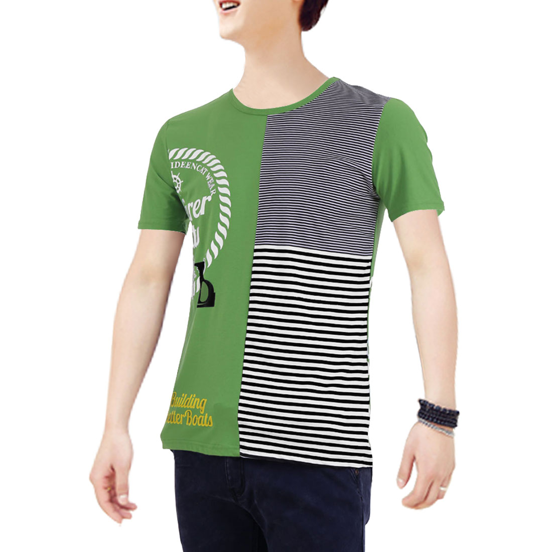 Men Panel Round Neck Letters Pattern Short Sleeve T-Shirt Green M