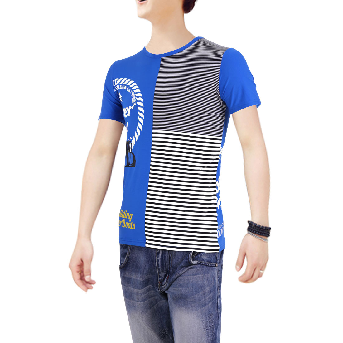 Round Neck Splice Design Stripes Pattern Men Casual Tee Blue M