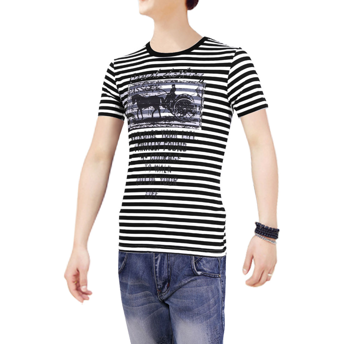 Stripes Prints Round Neck Pullover Style Fit T-Shirt for Men Black M