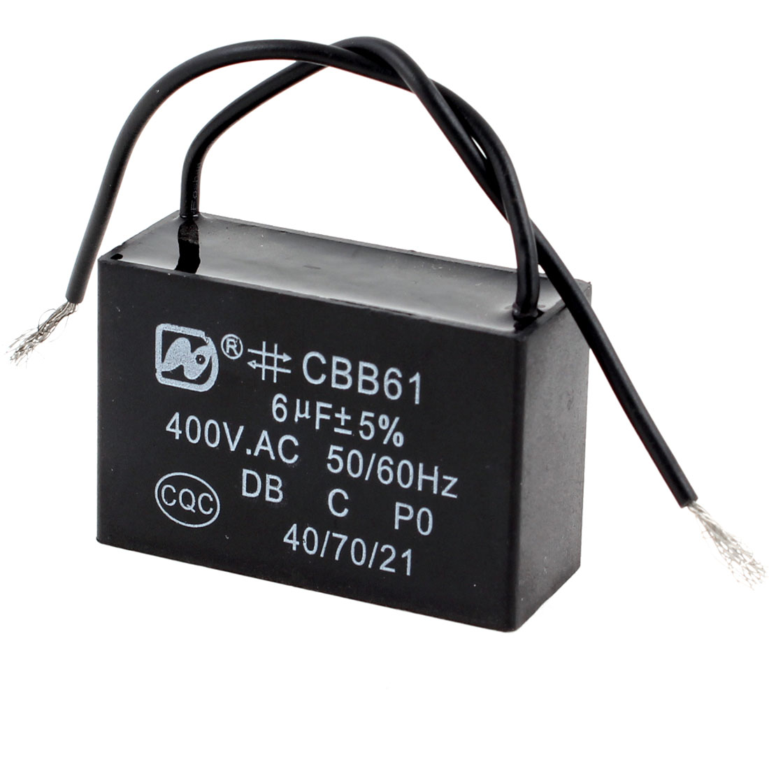 Polypropylene Film Rectangle Motor Capacitor Model CBB61 6uF AC 400V