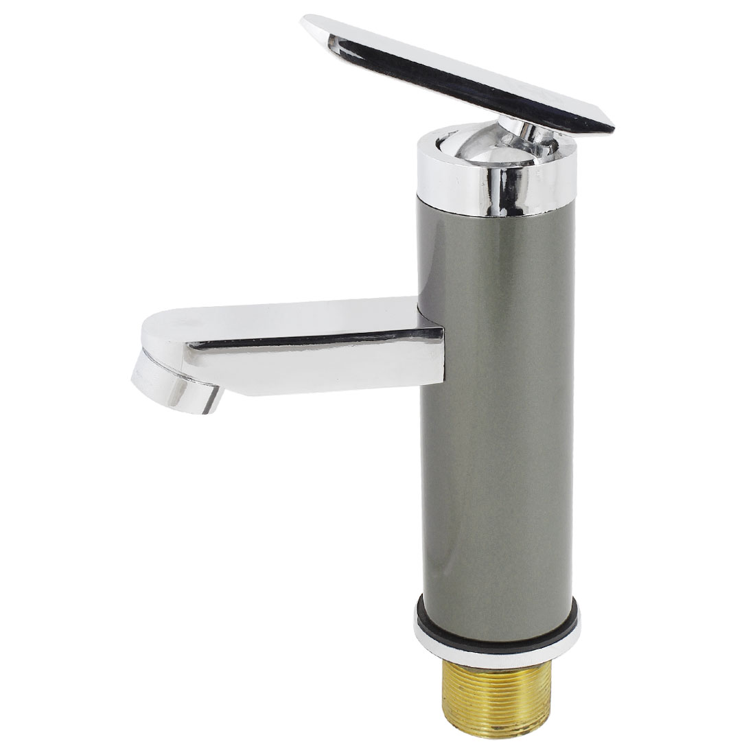 Basin Bathroom Single Handle Mixer Brass Faucet Water Tap Gray w Flexible Hoses