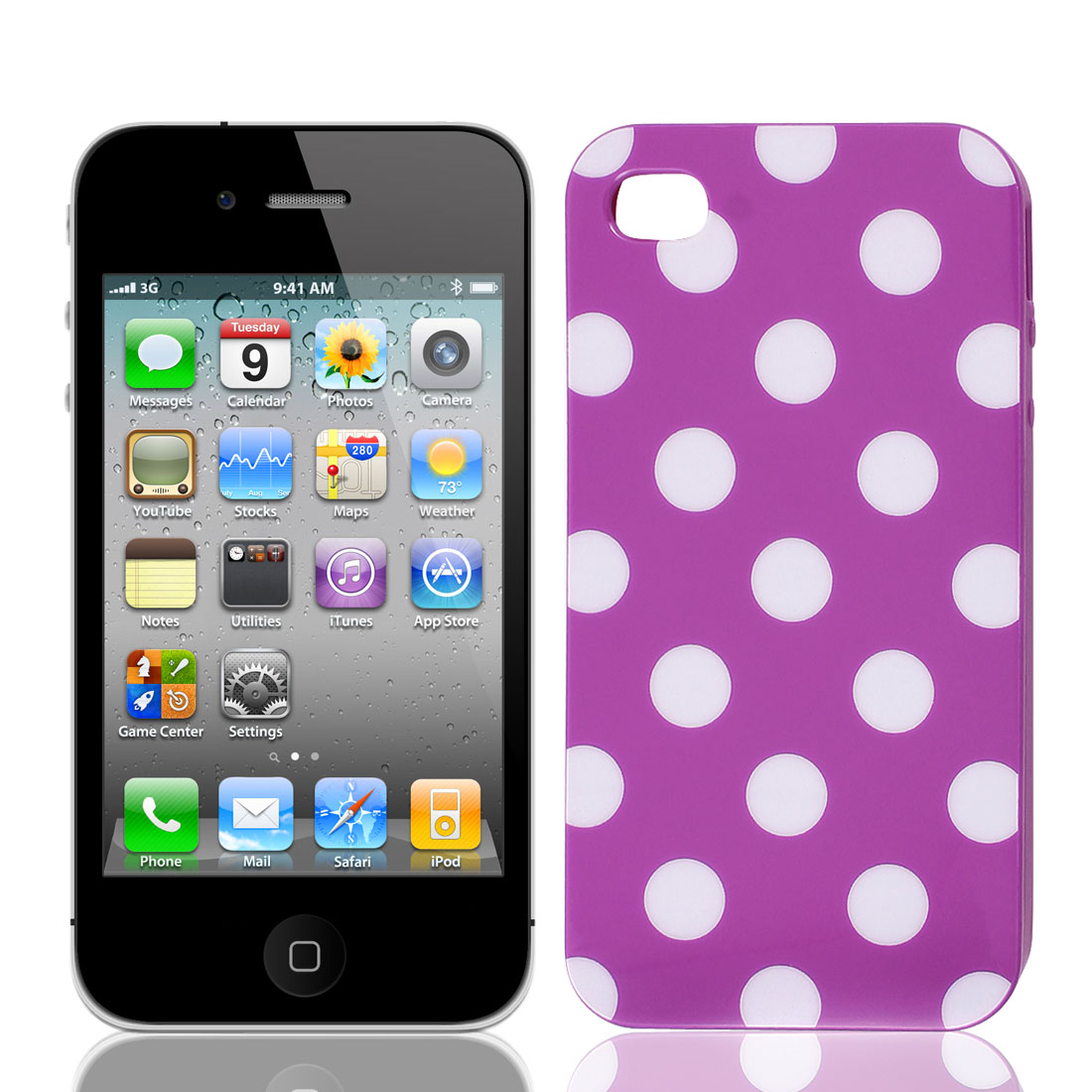 Polka Dots Purple Hard Cover Case IMD for Apple iPhone 4 4GS