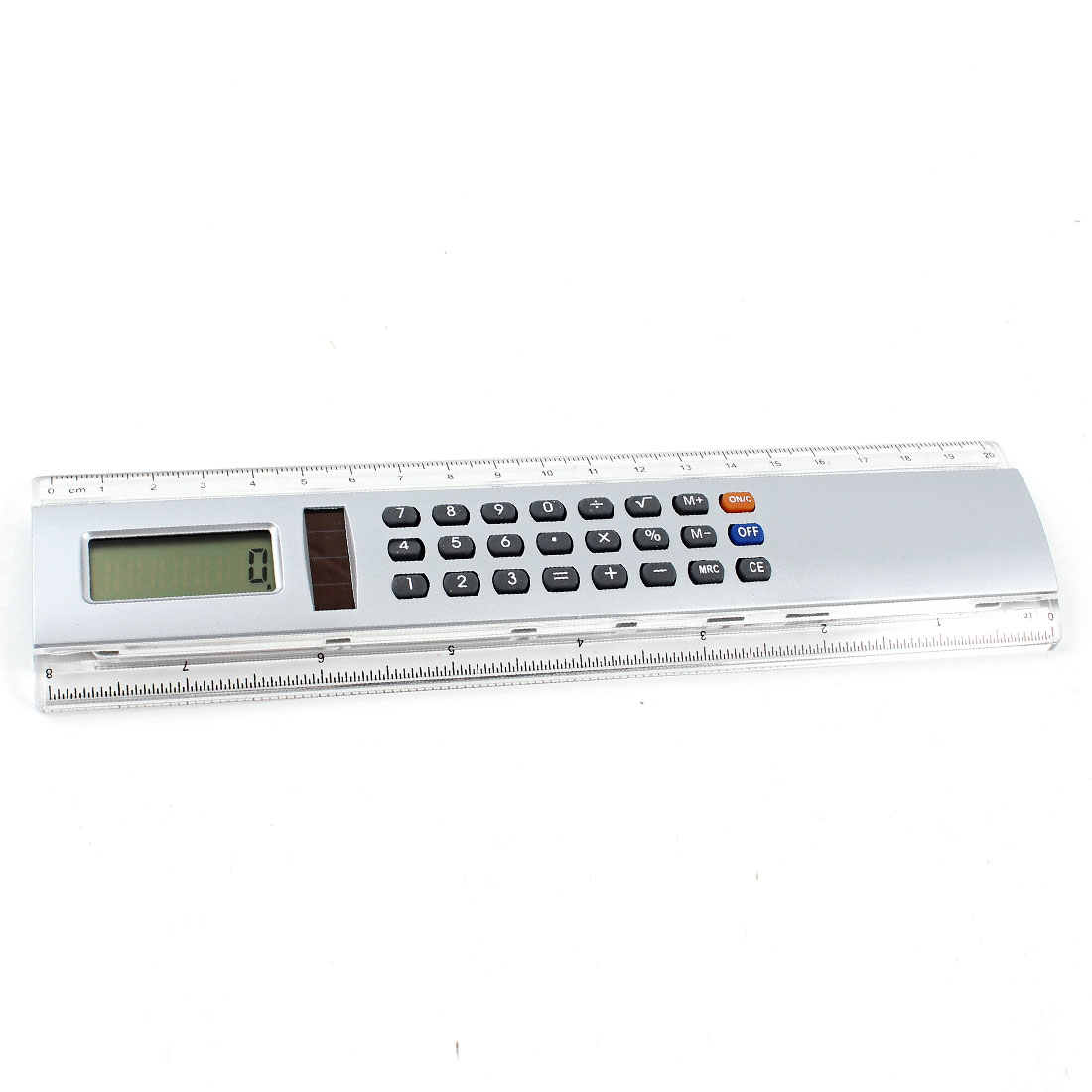 Clear Sliver Tone Inch Centimetre Ruler Edge Battery Powered Calculator Counter