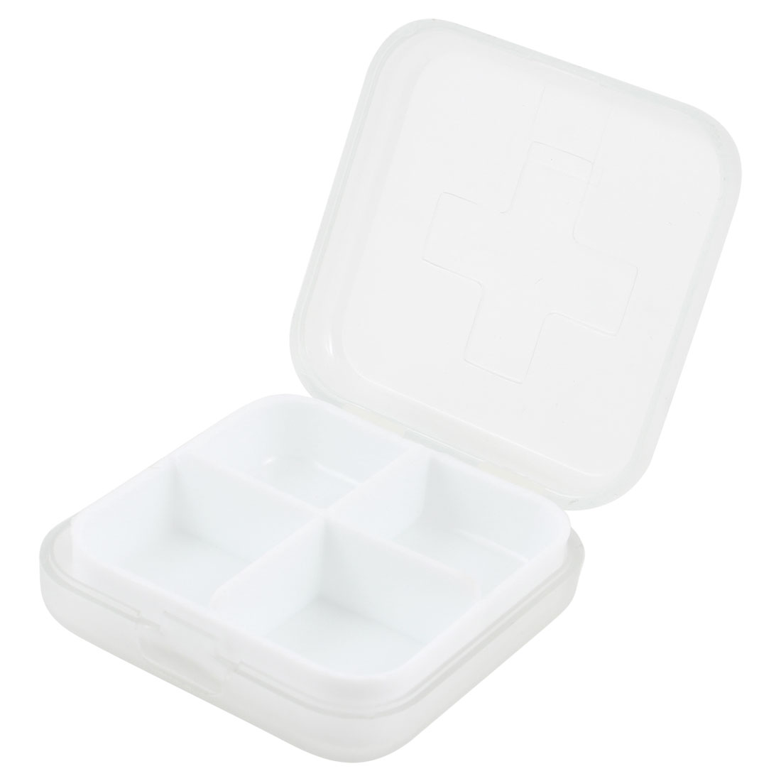 Square Shaped 4 Compartments Medicinal Pills Holder Clear