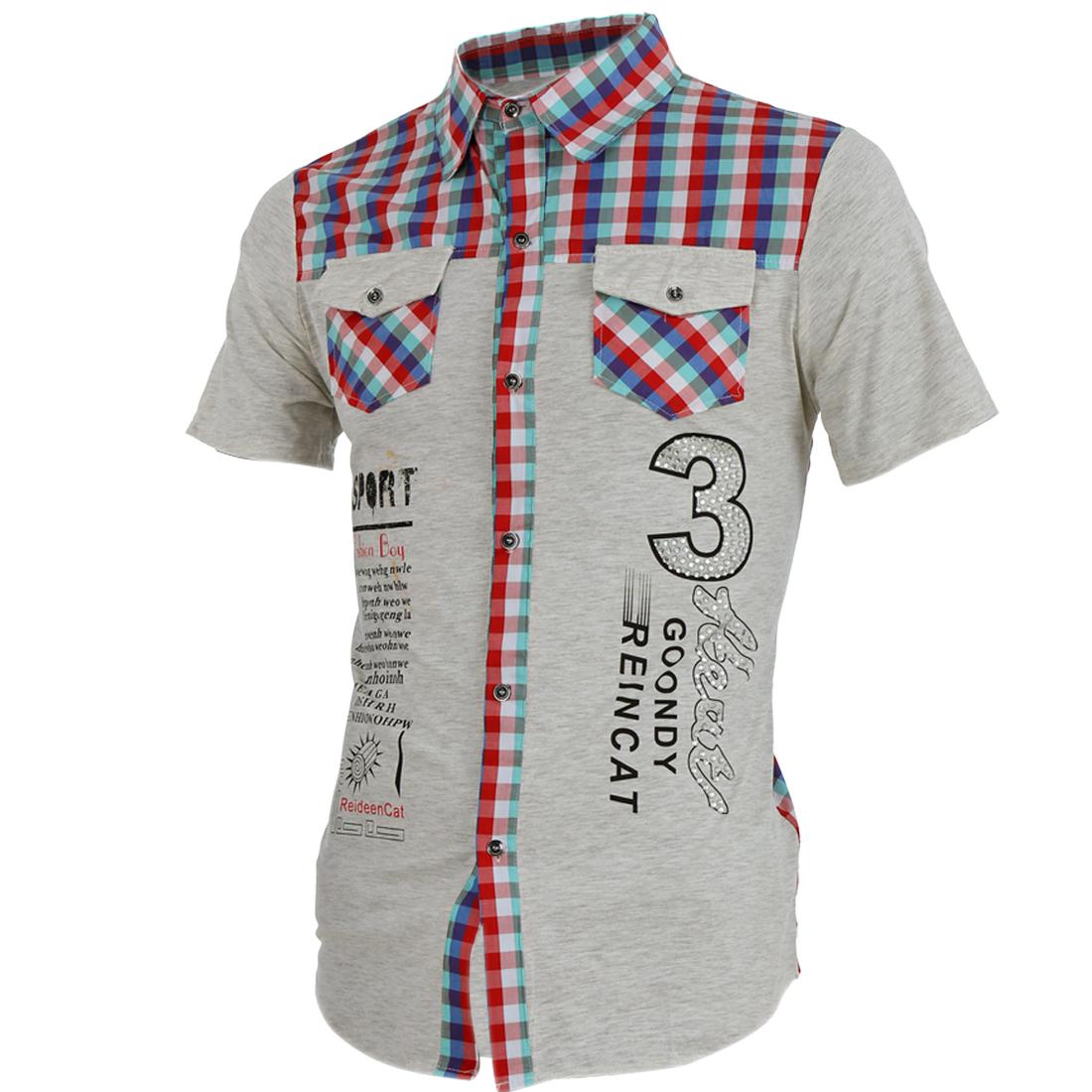 Men Point Collar Button Up Chest Pockets Shirt Red Light Gray M