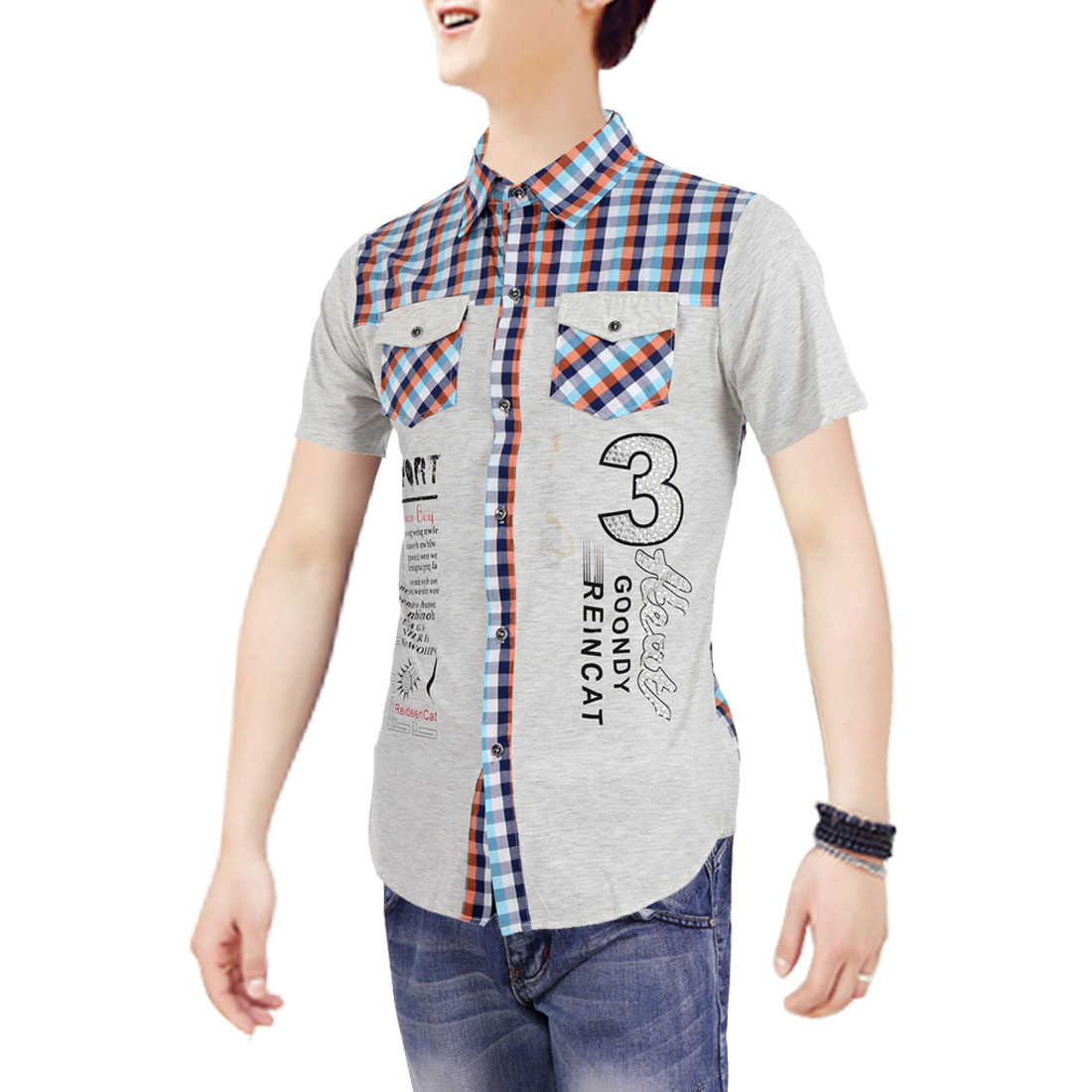 Men Point Collar Short Sleeve Letter Prints Shirt Light Blue Light Gray M