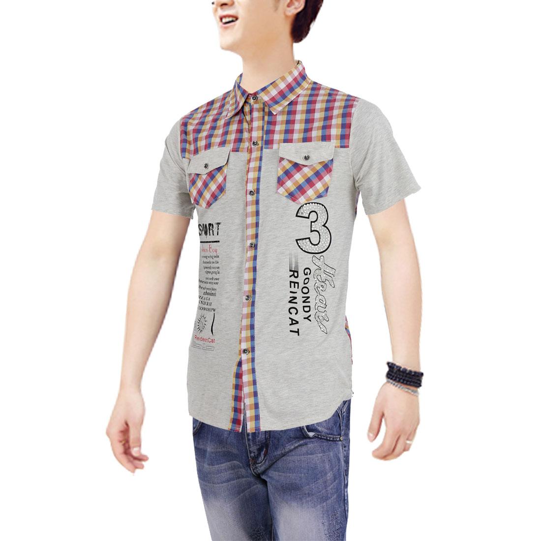 Men Button Up Short Sleeve Rhinestone Decor Shirt Yellow Light Gray M