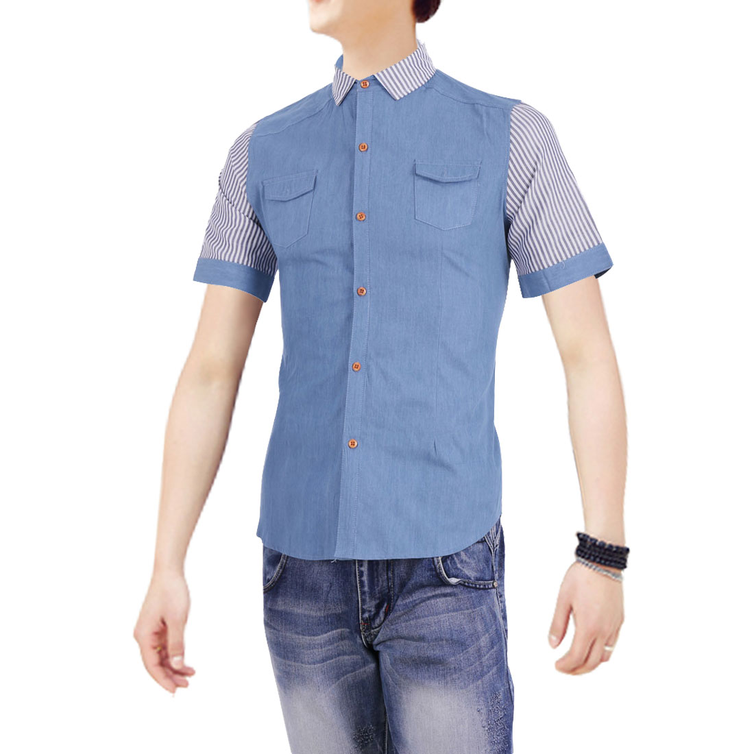 Man Newly Single-Breasted Front Striped Short Sleeve Light Blue Denim Shirt S