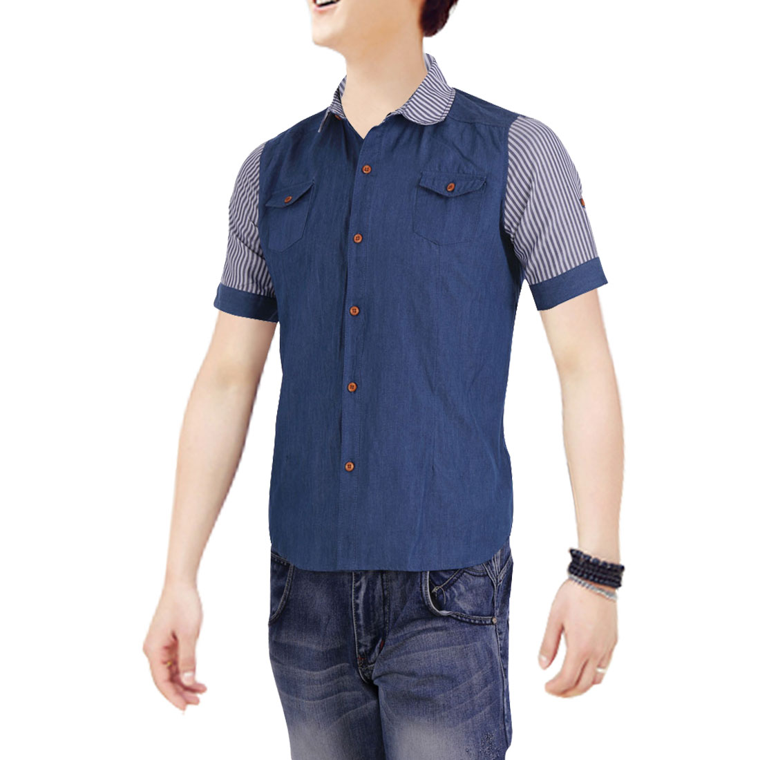 Mens Chic Point Collar Striped Short Sleeve Button Down Blue Denim Shirt S