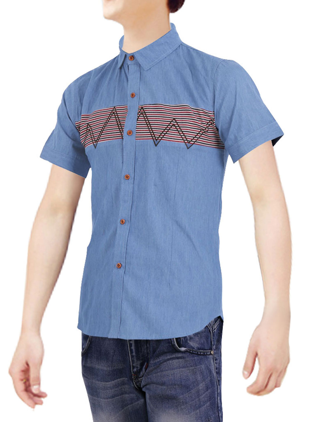 Man Chic Short Sleeve Buttoned Cuff Stripes Pattern Light Blue Denim Shirt S