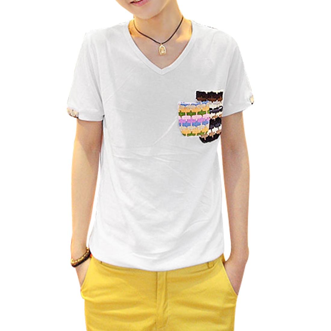Men Short Sleeves V Neck Chest Pockets Round Hem T-Shirt White S