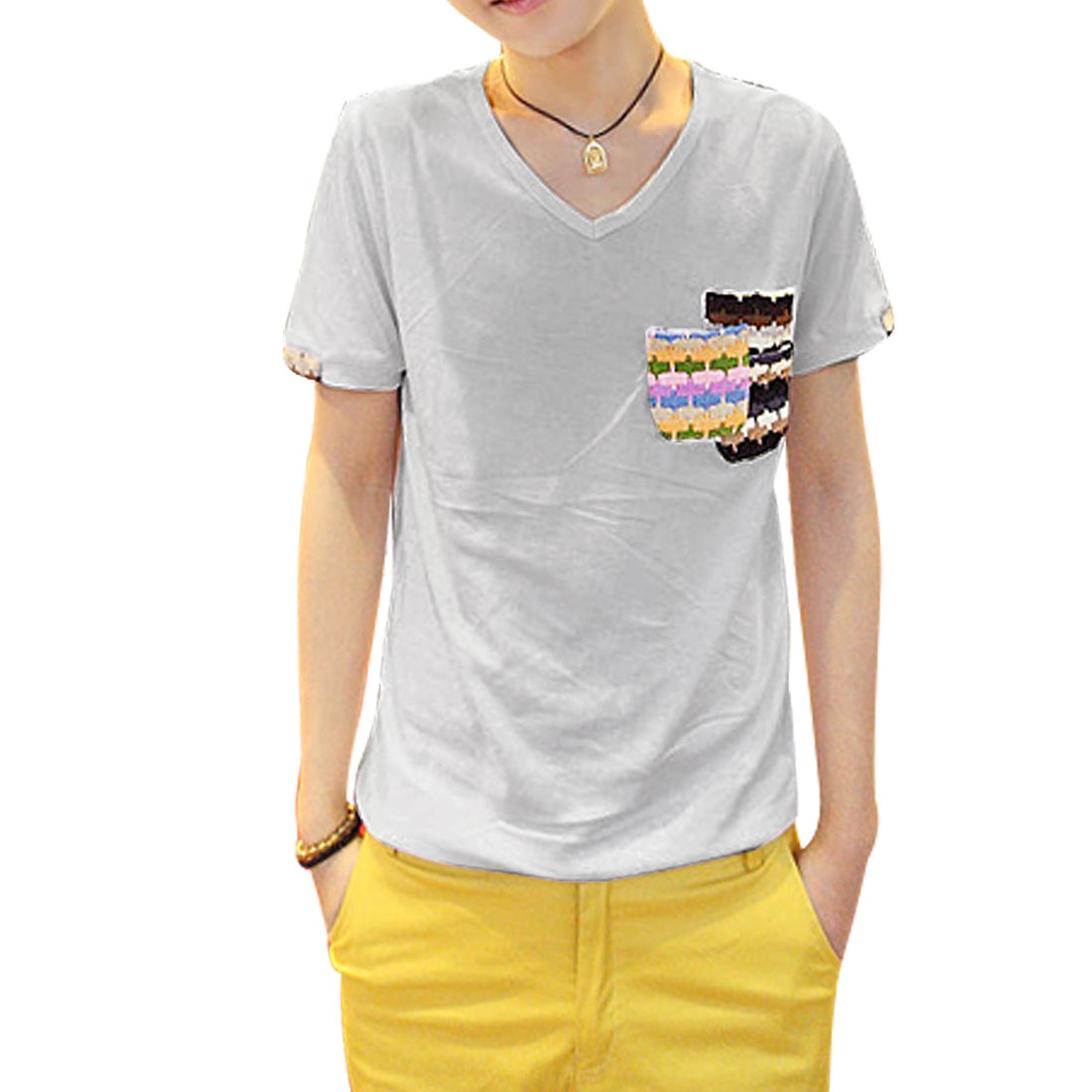 Men Knit Pockets Short Sleeves Round Hem V Neck T-Shirt Light Grey S