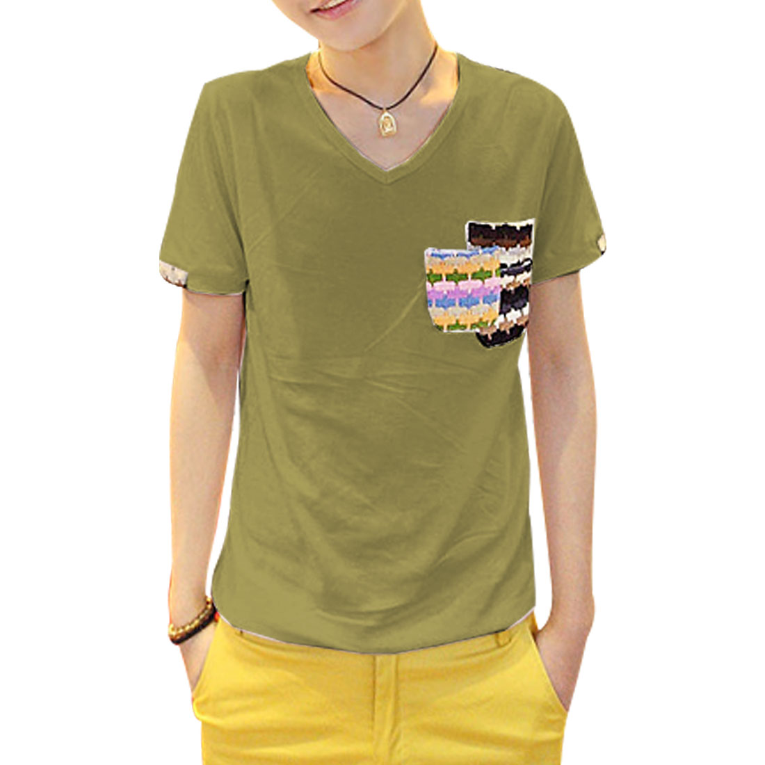V Neck Round Hem Stylish Breast Pockets Men T-Shirt Olive Green S