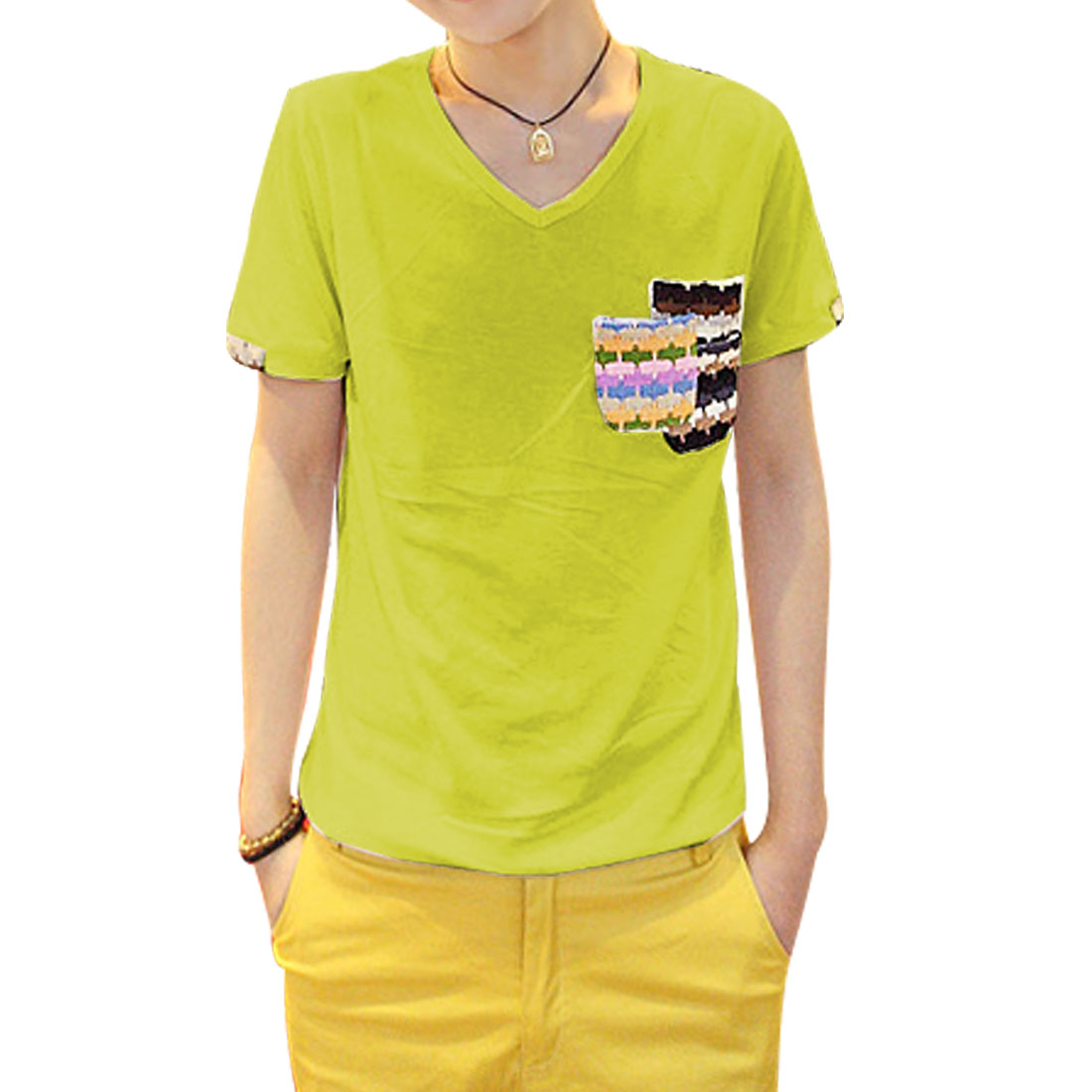 S Lime V Neck Short Sleeves Round Hem Chest Pockets Men T-Shirt