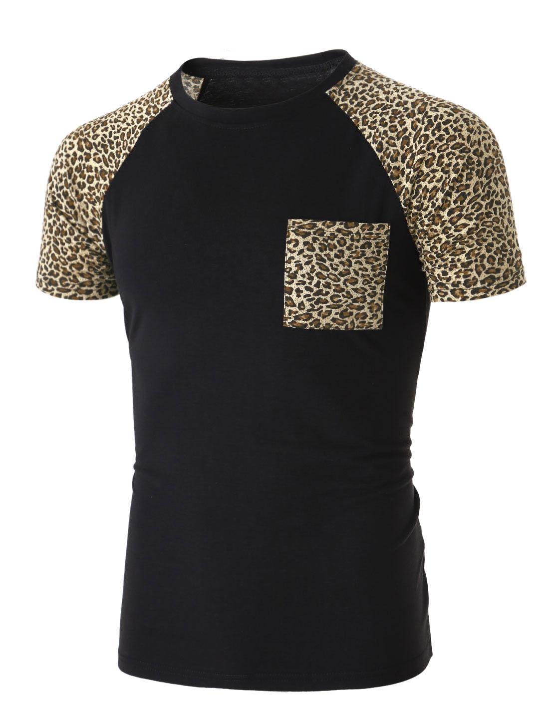 Man Newly Leopard Pattern Short Raglan Sleeve Black Casual Shirt M