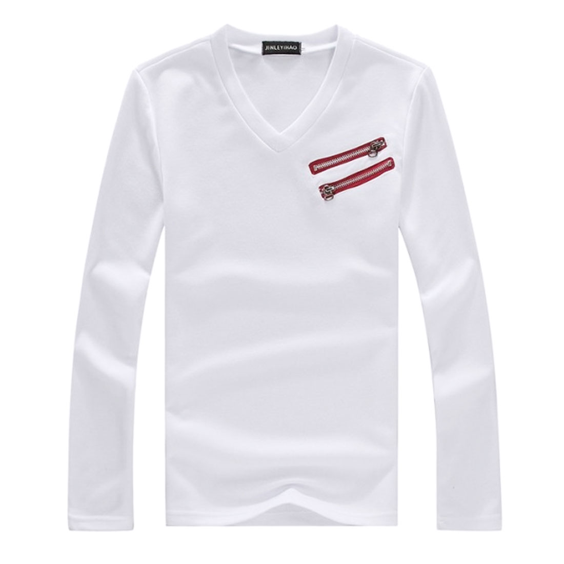 Stylish White V Neckline Long Sleeve Slant Zipper Decor Front Shirt for Man S