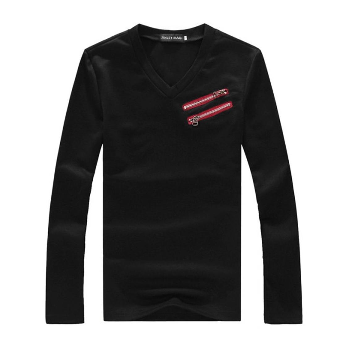 Man New Style V-Neck Long Sleeve Slant Zipper Front Decor Black Shirt S
