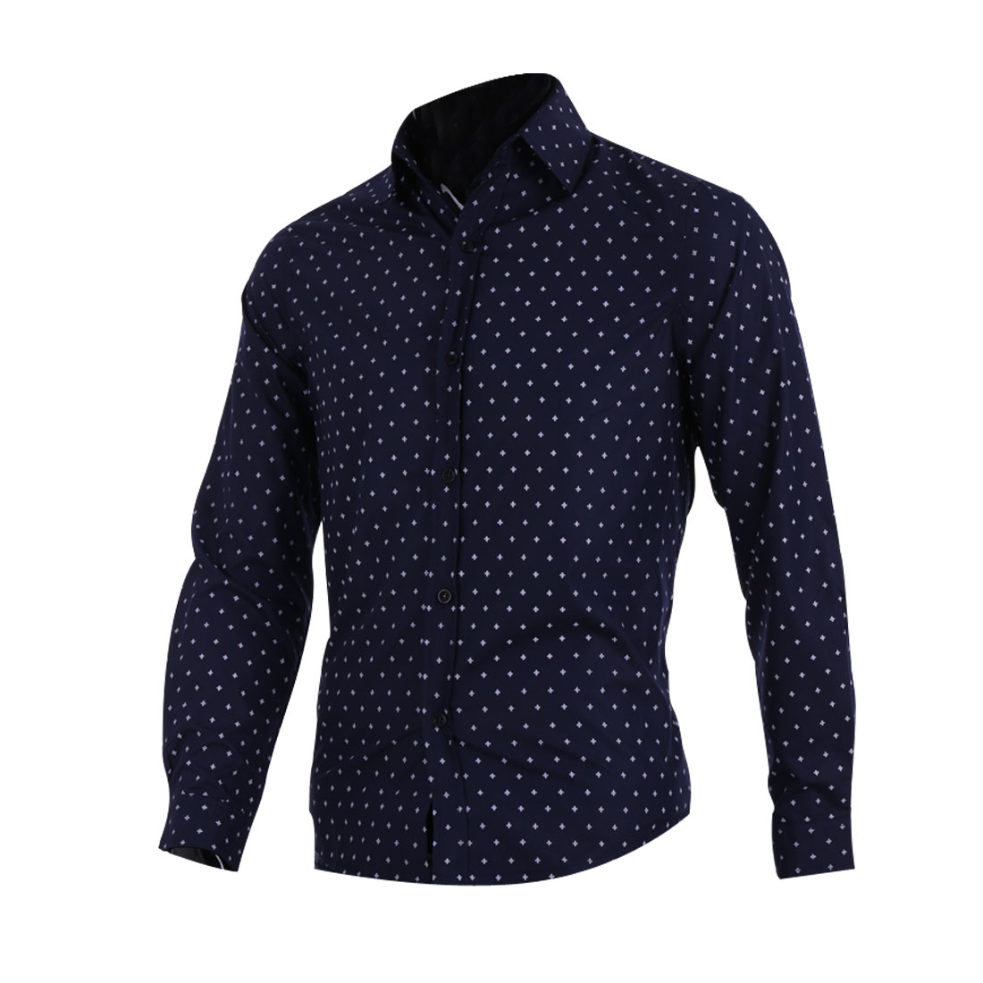 Mens Chic Point Collar Long Sleeve Novelty Prints Dark Blue Casual Shirt M