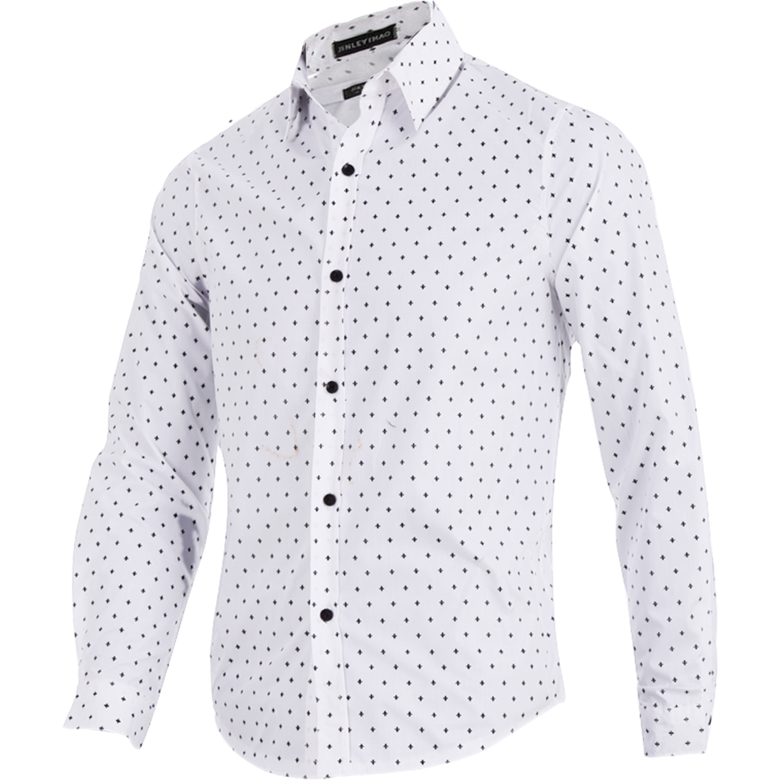Man New Fashion Single-Breasted Front Novelty Prints White Casual Shirt M