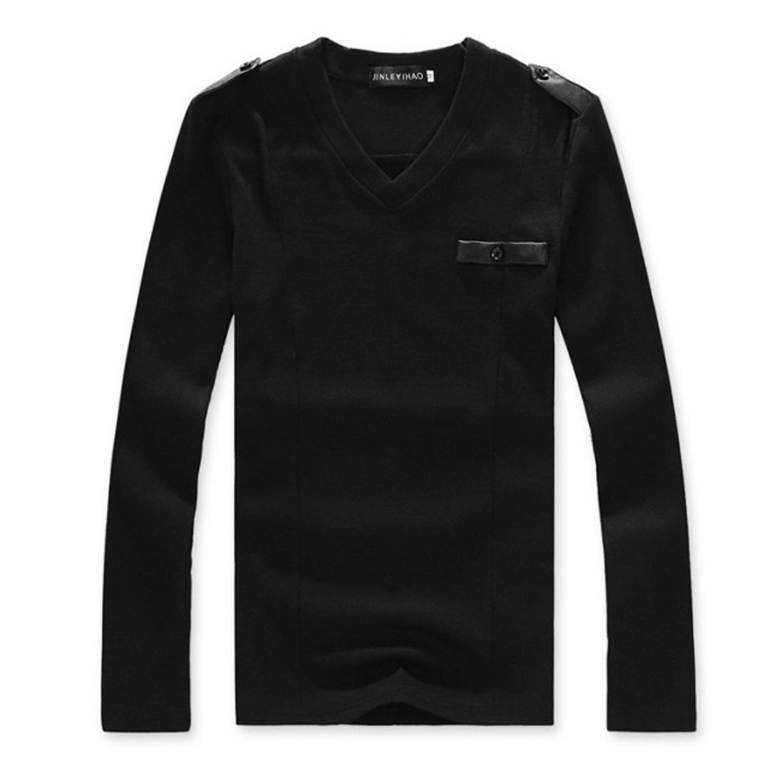 Men Stylish Long Sleeve Pullover Mock Chest Pocket Black Shirt S