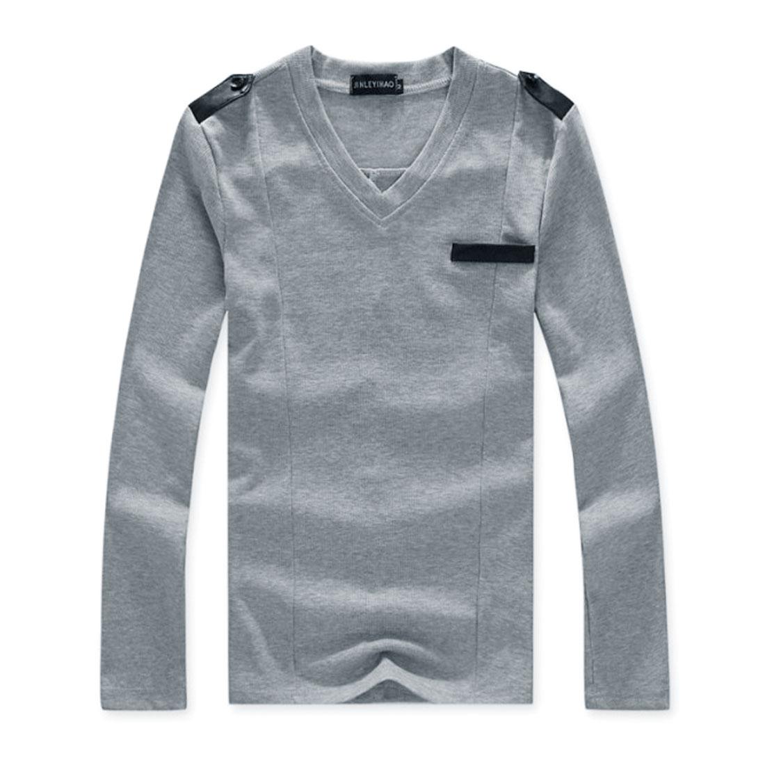 Men Fashion V Neck Ribbing Heather Gray Close-fitting Shirt S