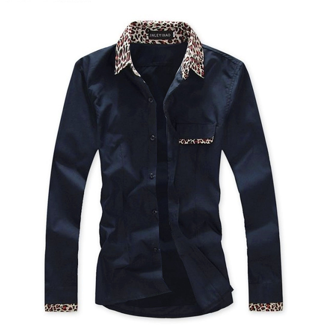 Men New Point Collar Buttoned Leopard Pattern Detail Top Navy Blue S