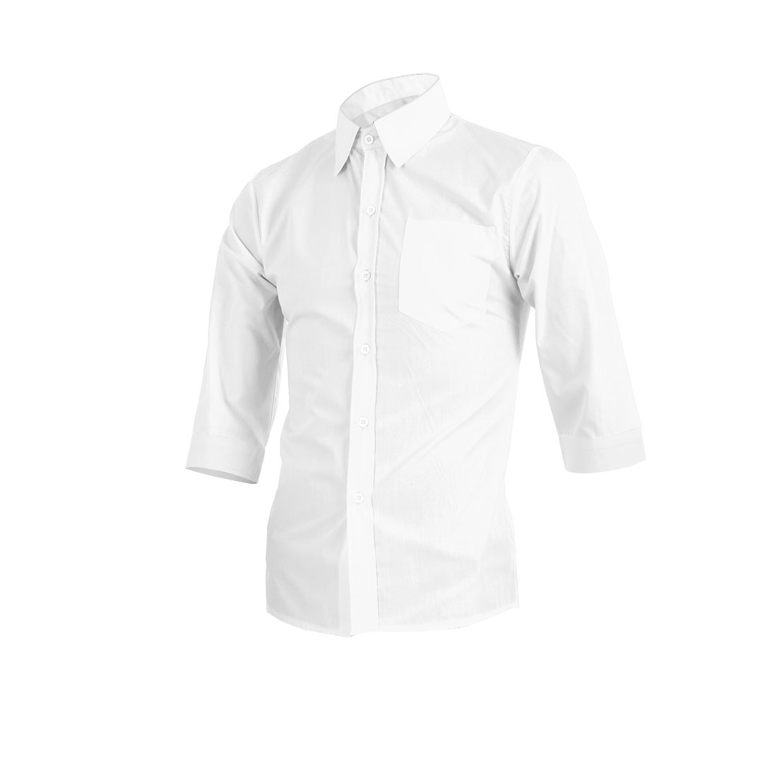 Men Point Collar Button Up Chest Pocket White Casual Shirt M