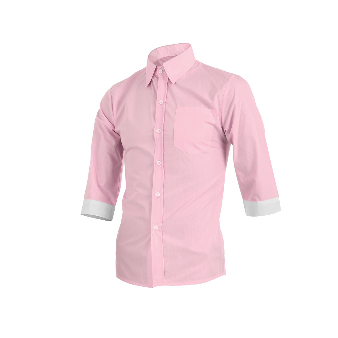 Men Three Quarter Sleeve Button Up Light Pink Shirt M