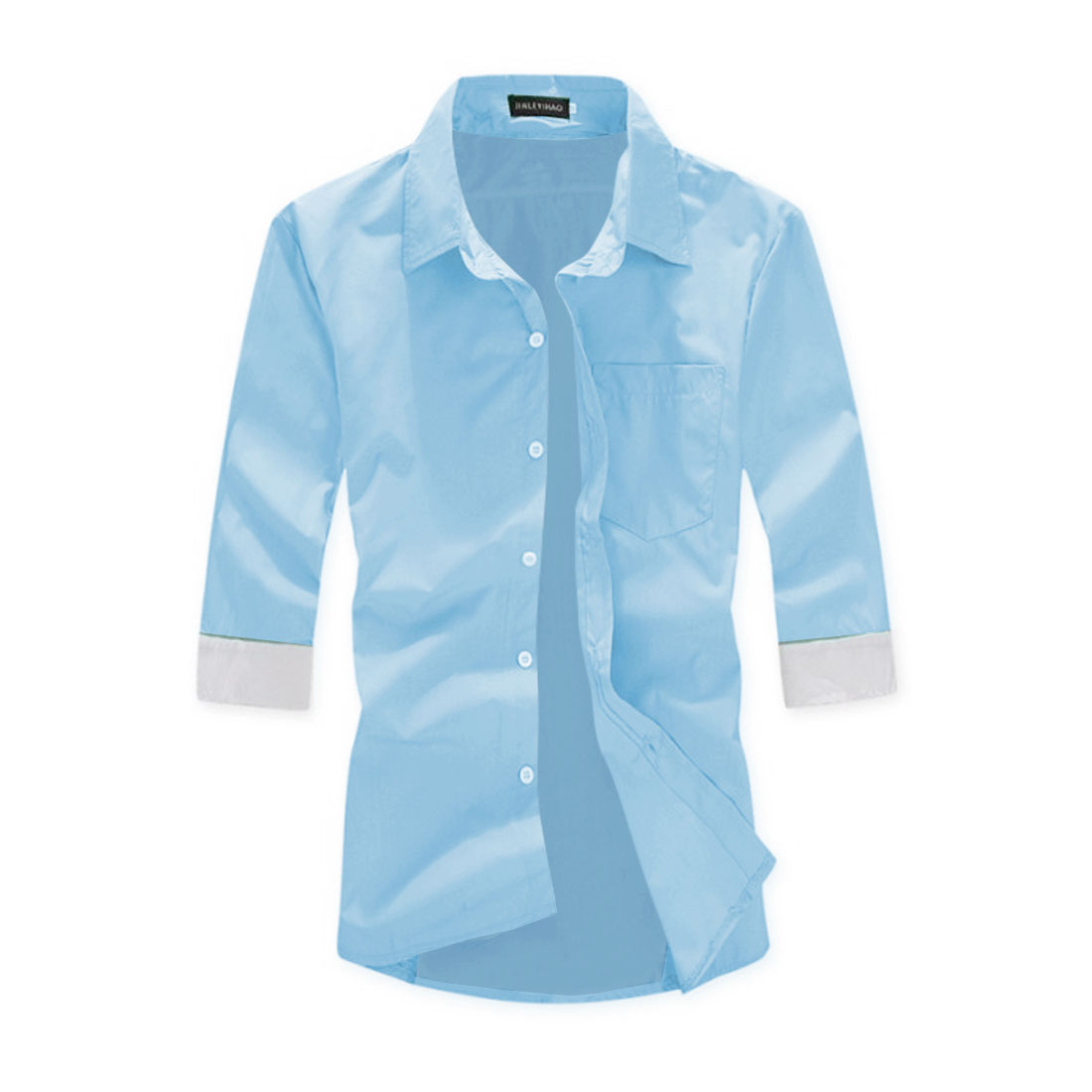 Men Chic Simple Button Front Fitted Light Blue Shirt M