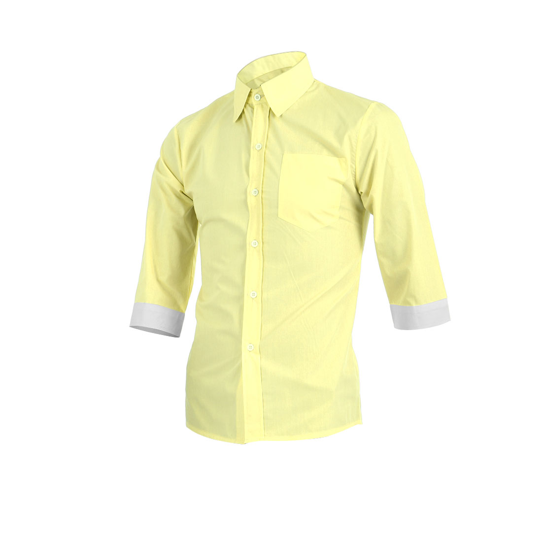 Men Light Yellow Single Breasted Front Round Hem Smart Casual Shirt M