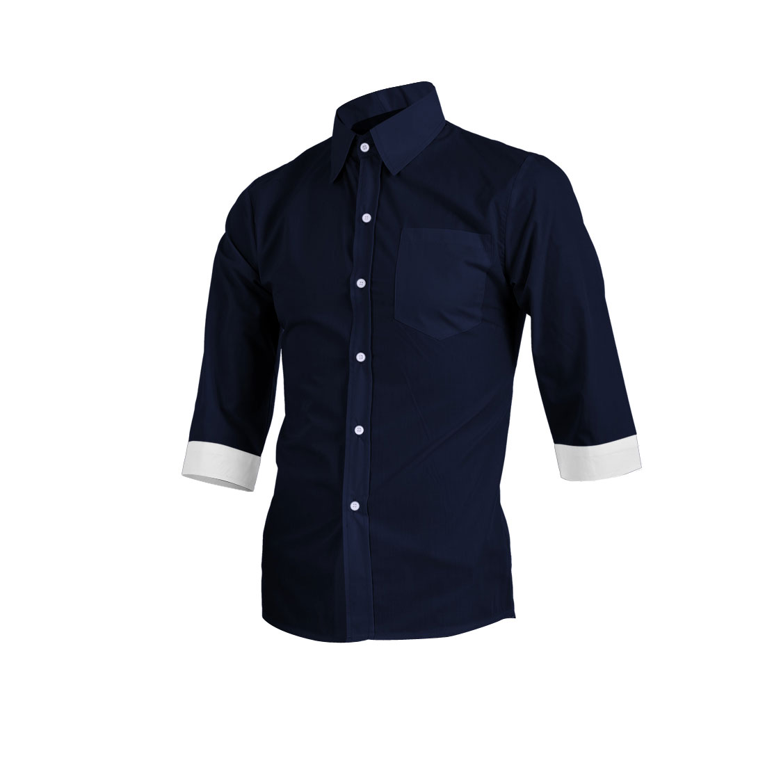 Men Summer Single Chest Pocket Front Button Up Shirt Navy Blue M