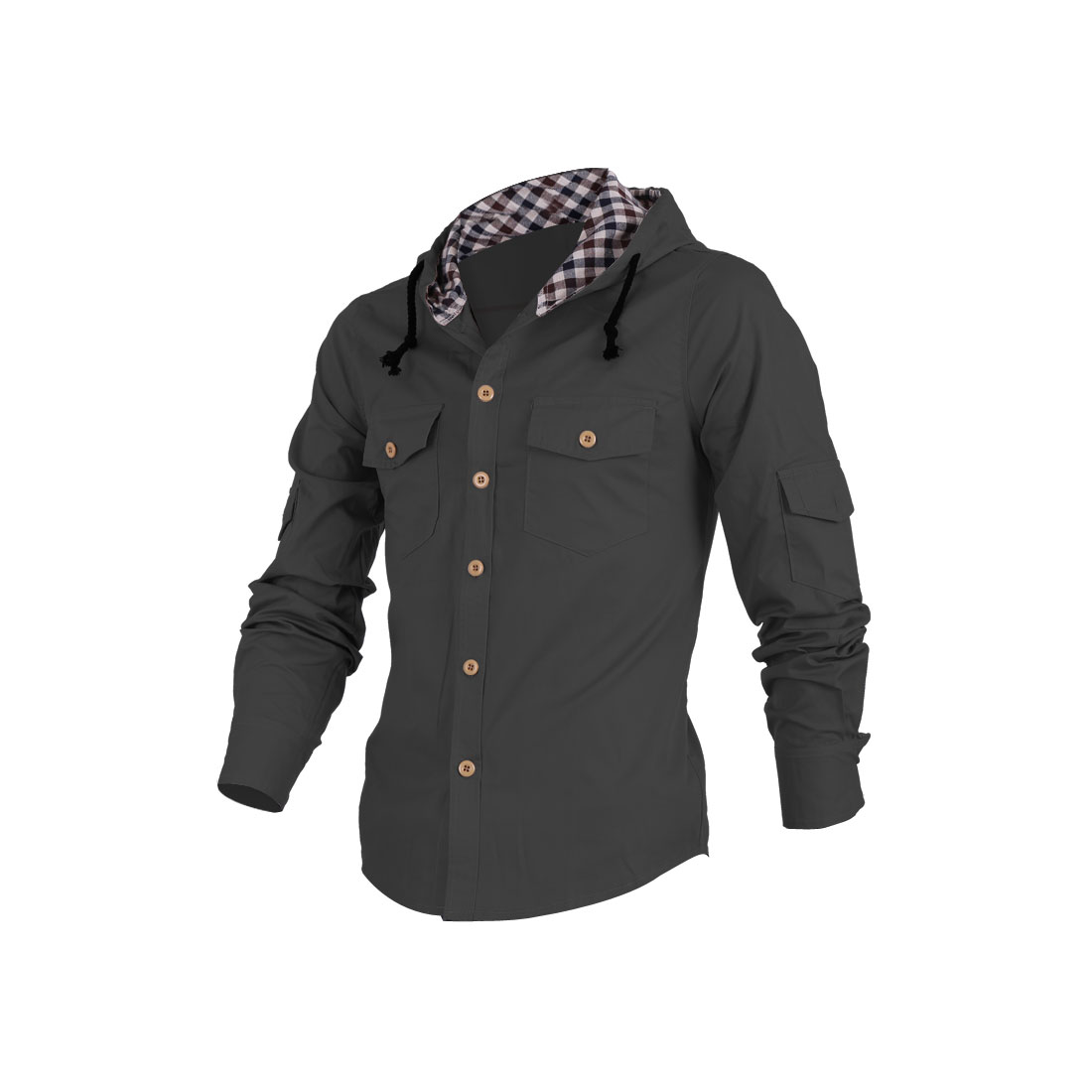 Men Stylish Long Sleeve Button Down Pockets Decor Dark Gray Hoodie M