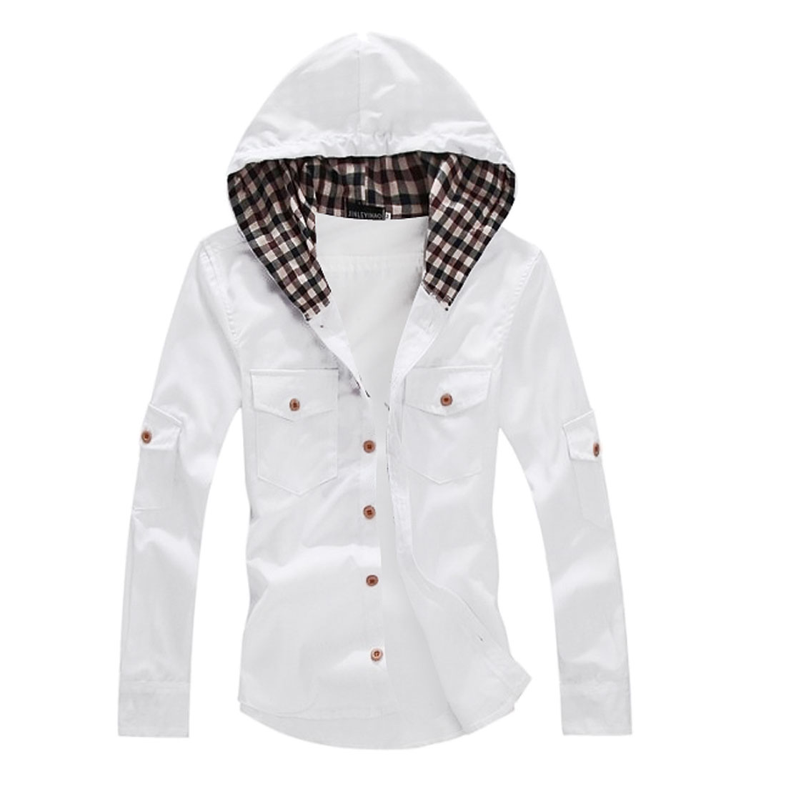 Men Leisure Chest Pocket Decor Button Front White Hoodie M