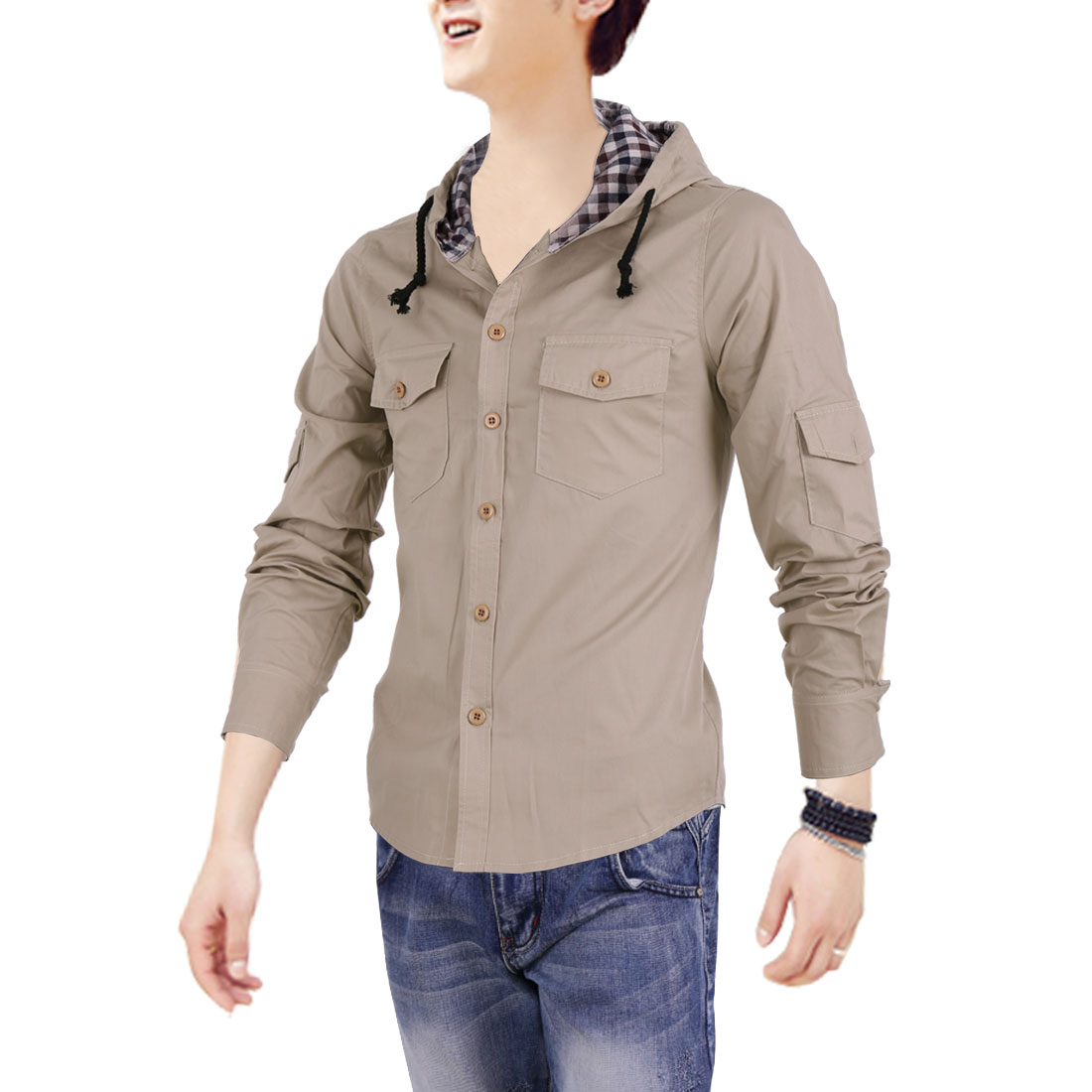 Men Adjustable Strap Button Up Pockets Khaki Hoodie M