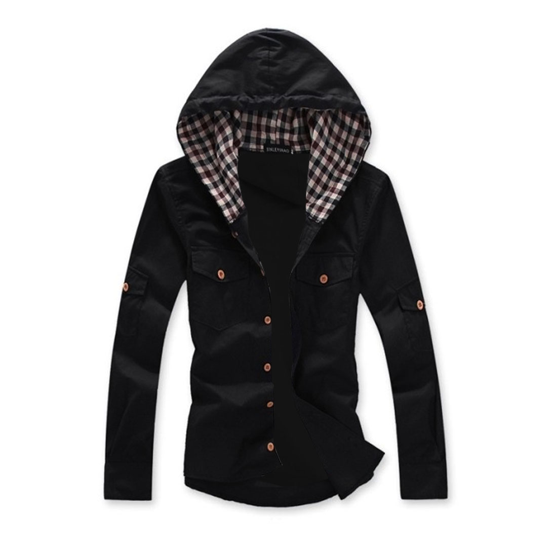 Men Button Cuff Plaids Detail Pockets Black Hoody M