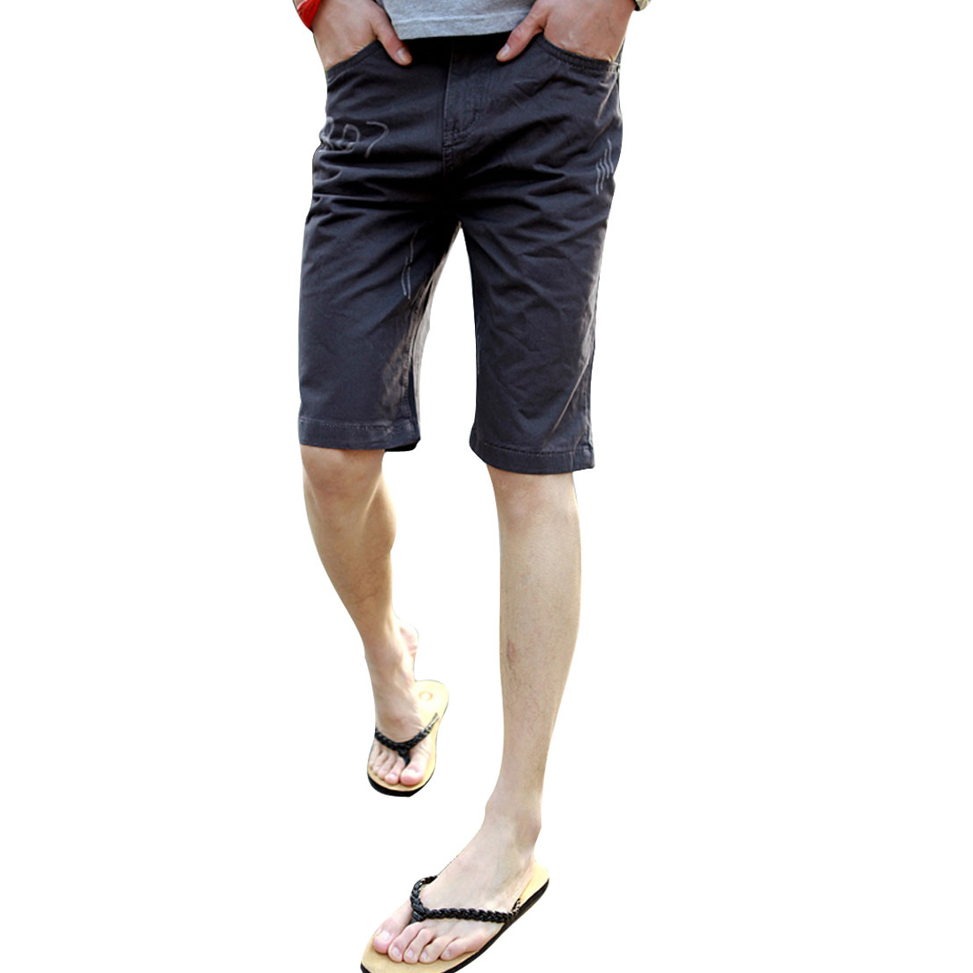 Men Belted Loops Concealed Zip Front Pockets Casual Shorts Dark Grey W33