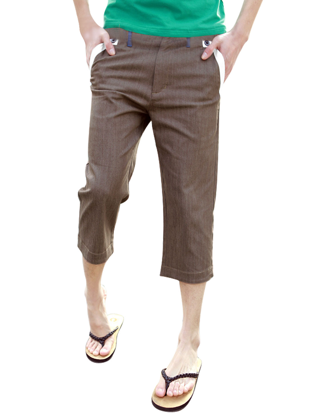 Men Waistband Loop Zip Fly Hip Patch Pockets Coffee Capris W31
