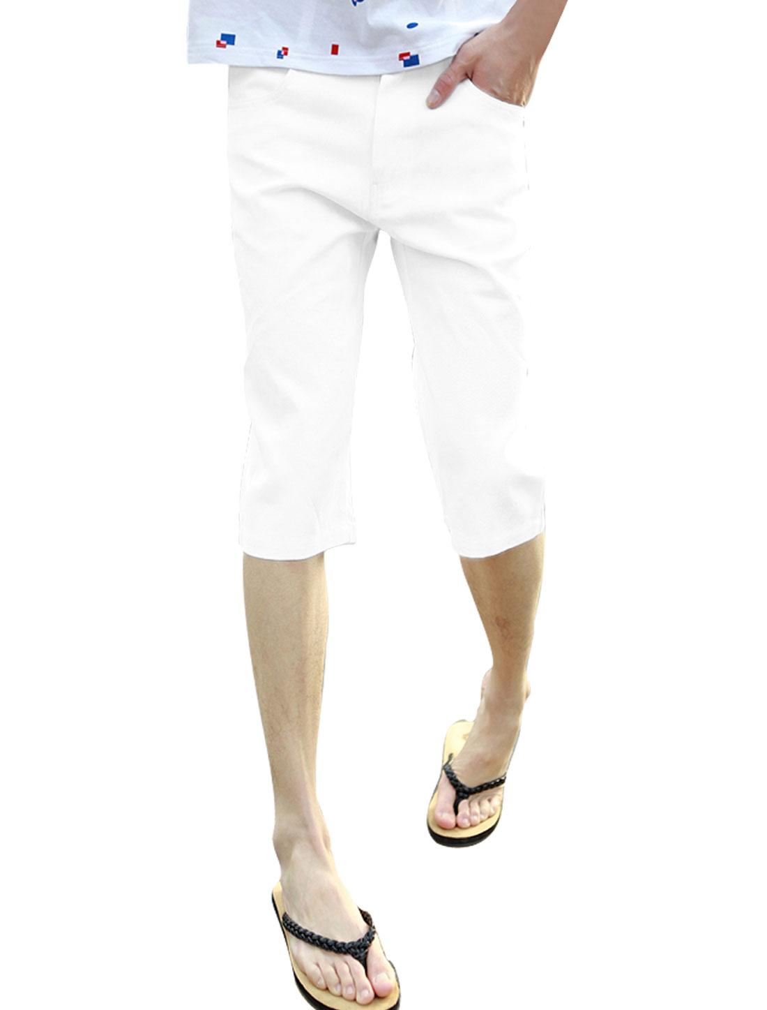 New Men Pockets Slim Fit Buttoned White Capris W32