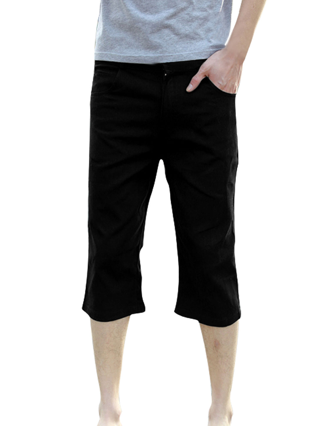 Men Stylish Zip Fly Closure Waistband Loop Slim Fit Capris Black W32