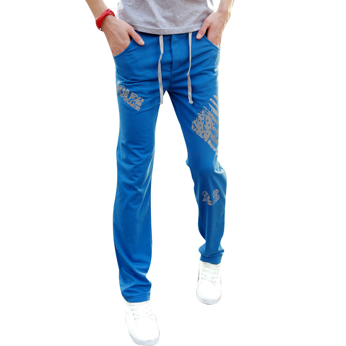 Men Drawstring Elastic Waist Novelty Prints Pants Royal Blue W28