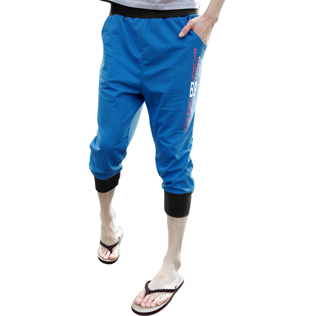 Mens Drawstring Waist Letters Prints Side Slant Pockets Blue Capris Pants W29