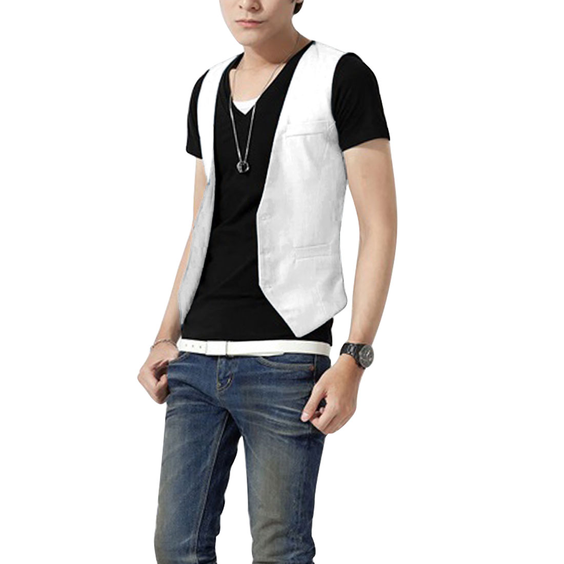 Men Buttons Up Front V Neck Pockets Leisure Pure White Vests S