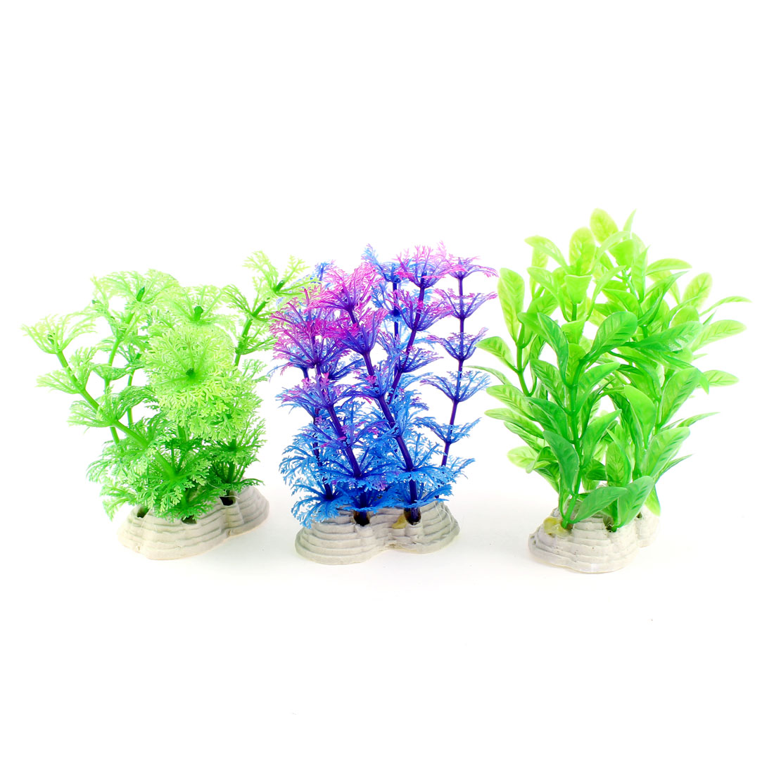 Fish Tank Indigo Blue Green Plastic Leaf Water Grass Plants Ornament 3 Pcs