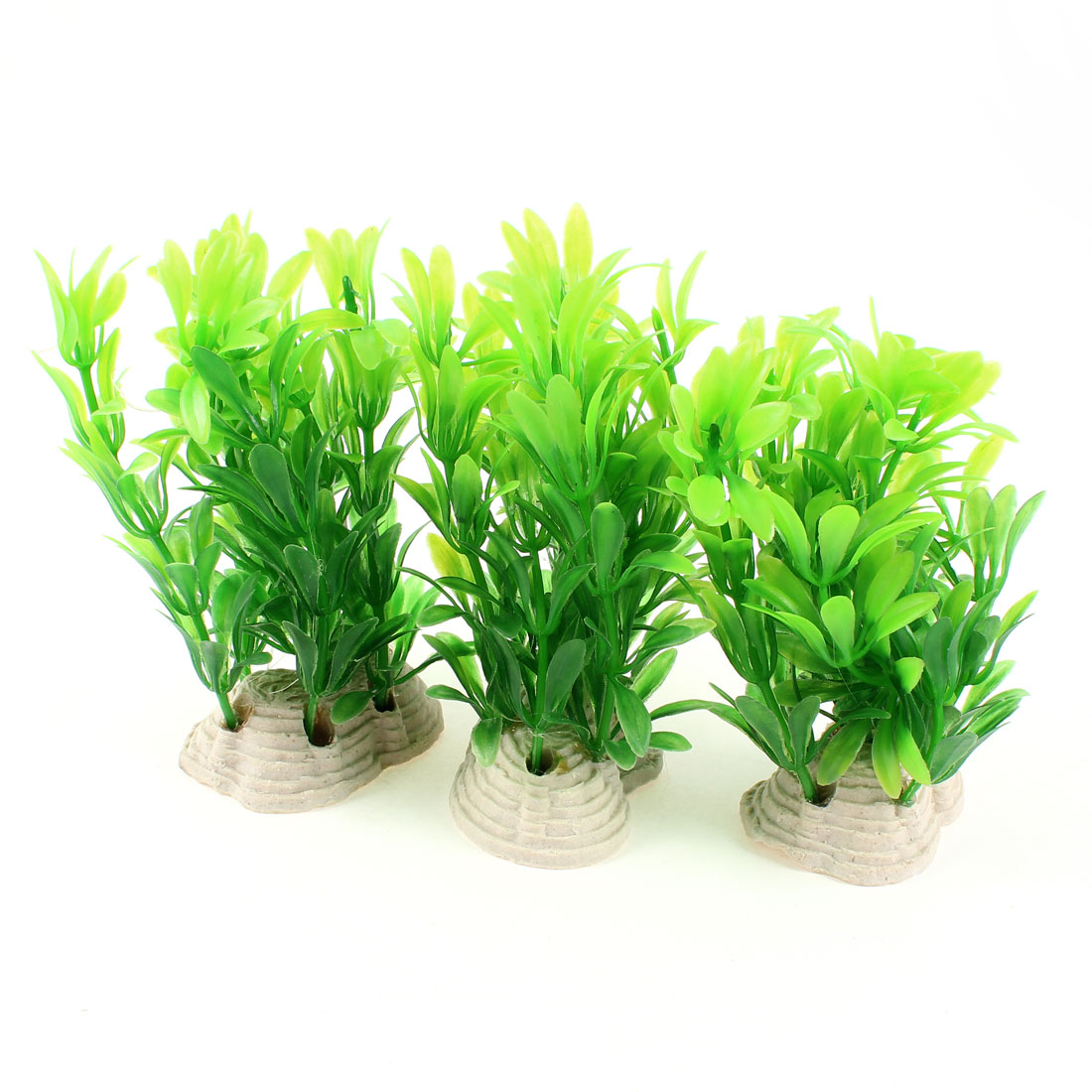 "3 Pcs 3.9"" Aquarium Landscaping Artificial Underwater Grass Plant Green"